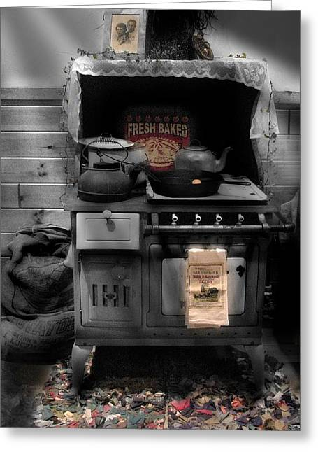 Wood Stove Greeting Cards - Maddies Old Stove Black White Greeting Card by Nancy TeWinkel Lauren