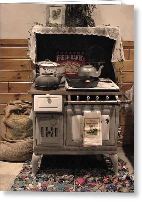 Antique Wood Stove Greeting Cards - Maddies Old Stove Greeting Card by Nancy TeWinkel Lauren
