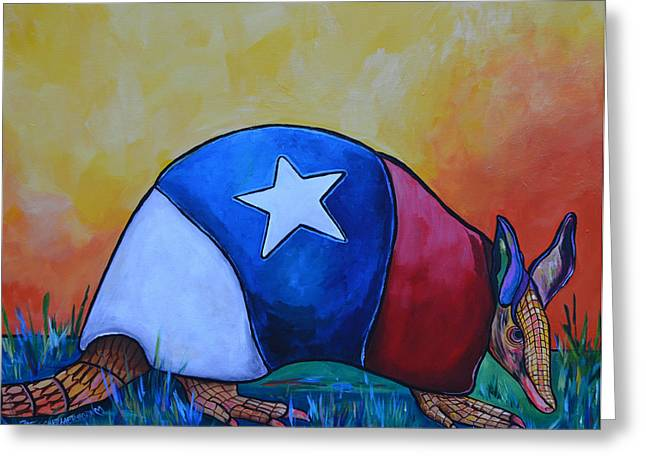 Western Themed Greeting Cards - Made In Texas Armadillo Greeting Card by Patti Schermerhorn