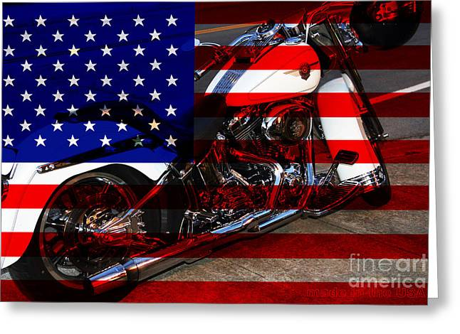 Fourth Of July Photographs Greeting Cards - Made In The USA . Harley-Davidson . 7D12757 Greeting Card by Wingsdomain Art and Photography