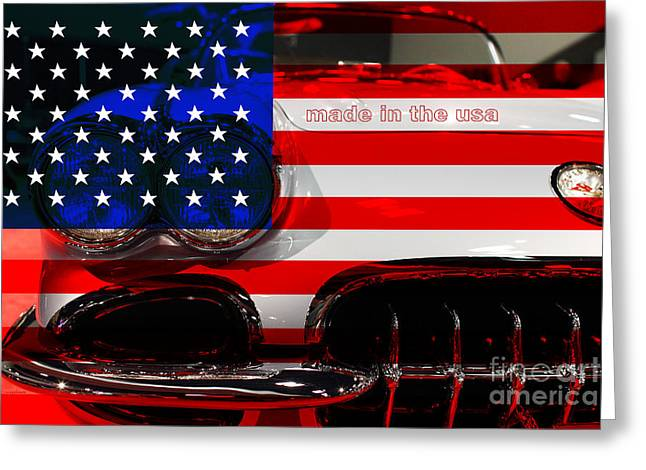Made In The Usa Digital Greeting Cards - Made In The USA . Chevy Corvette Greeting Card by Wingsdomain Art and Photography