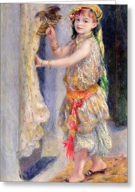Innocent Greeting Cards - Mademoiselle Fleury in Algerian Costume Greeting Card by Pierre Auguste Renoir