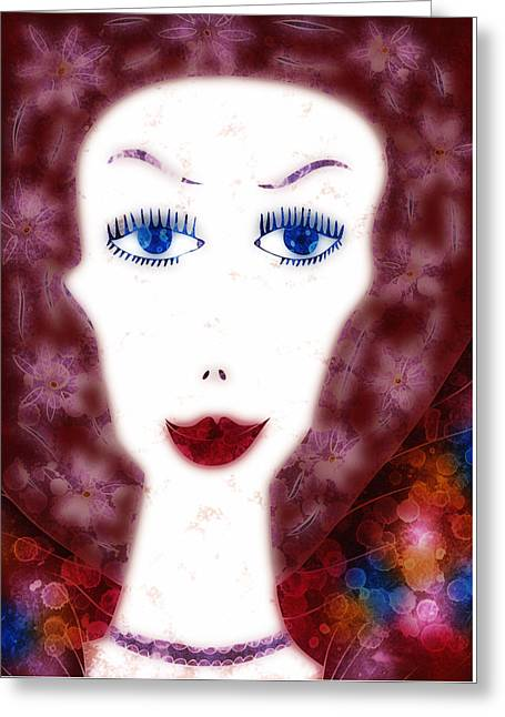 Huge Eyes Greeting Cards - Mademoiselle Greeting Card by Frank Tschakert