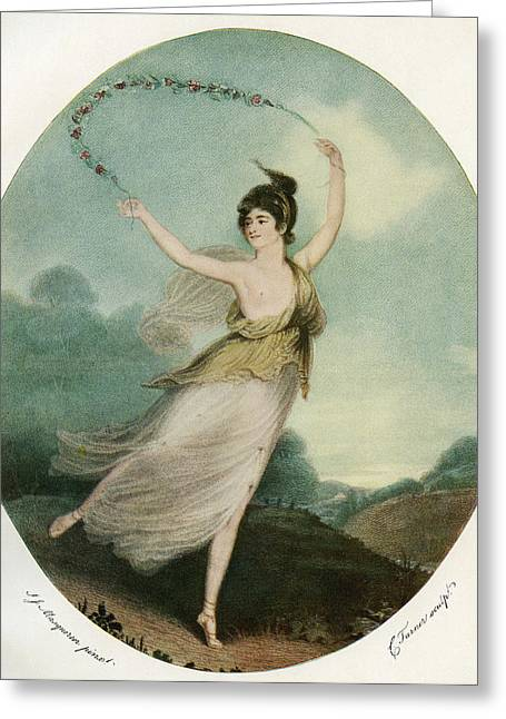 Ballet Dancers Greeting Cards - Mademoiselle Parisot, C. 1775 Greeting Card by Ken Welsh