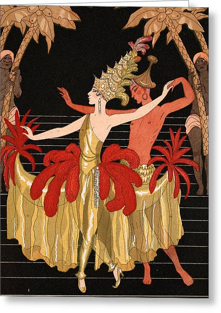 Mademoiselle Sorel At The Grand Prix Ball Greeting Card by Georges Barbier