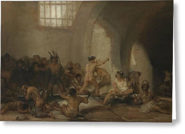 Madhouse Greeting Card by Francisco Goya