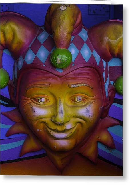 Madi Gras Jester Greeting Card by Garry Gay