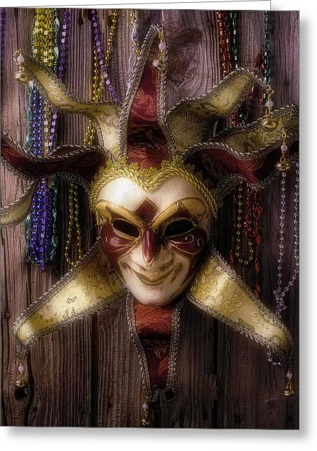 Jester Greeting Cards - Madi Gras Mask And Beads Greeting Card by Garry Gay