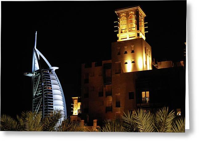 Madinat And Burj Al Arab Hotels Greeting Card by Graham Taylor