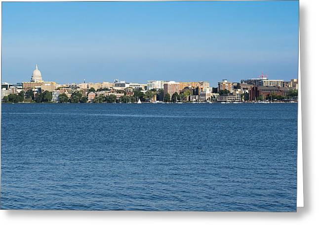 Lake Mendota Greeting Cards - Madison Skyline from Picnic Point Greeting Card by Steven Ralser