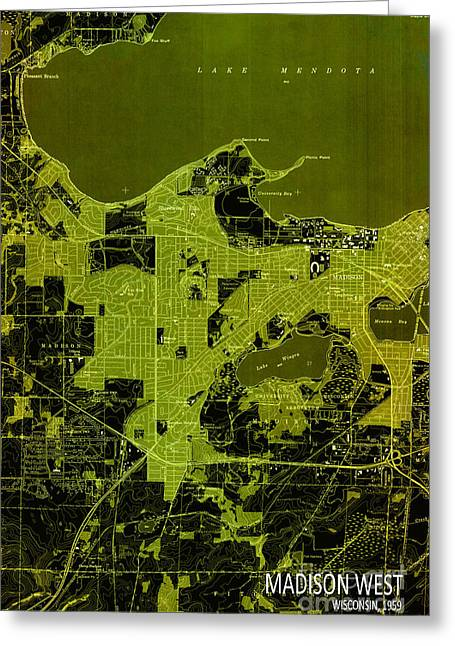 print Mixed Media Greeting Cards - Madison West Old Map Greeting Card by Pablo Franchi