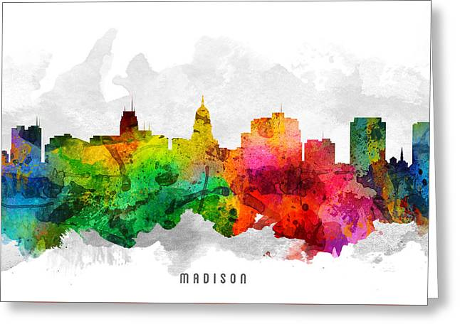 Madison Greeting Cards - Madison Wisconsin Cityscape 12 Greeting Card by Aged Pixel