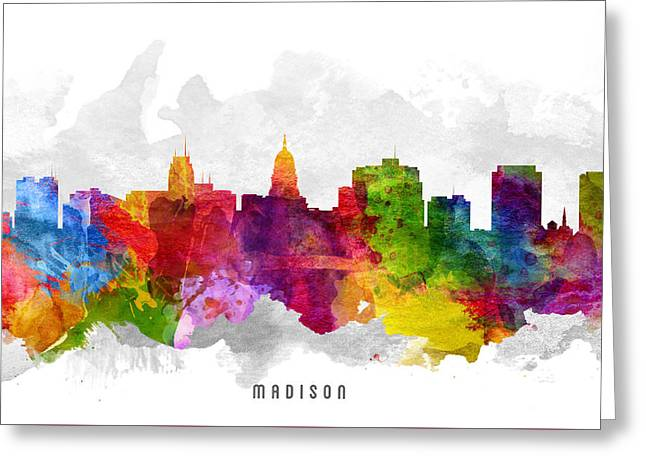 Madison Greeting Cards - Madison Wisconsin Cityscape 13 Greeting Card by Aged Pixel