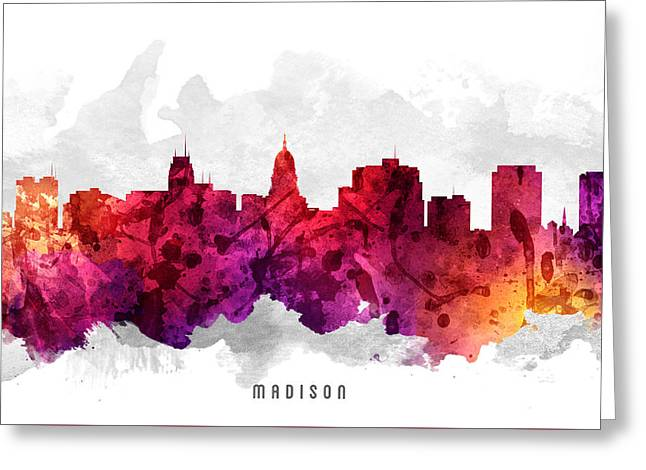 Madison Greeting Cards - Madison Wisconsin Cityscape 14 Greeting Card by Aged Pixel