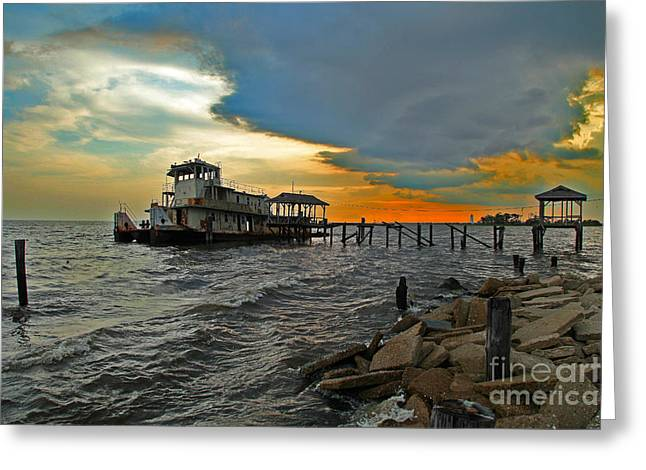Metal Fish Art Photography Greeting Cards - Madisonville Katrina Ghost Boat  Greeting Card by Luana K Perez