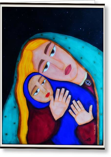 Jesus With A Child Greeting Cards - Madona with a Child Greeting Card by Yolarte