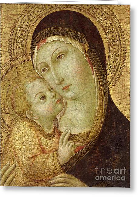 Baby Jesus Paintings Greeting Cards - Madonna and Child Greeting Card by Ansano di Pietro di Mencio