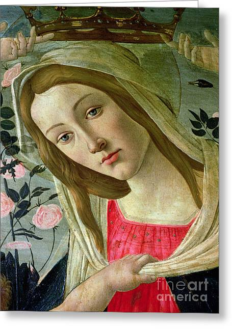Christ Child Greeting Cards - Madonna and Child Crowned by Angels Greeting Card by Sandro Botticelli