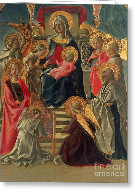 Madonna And Child Greeting Cards - Madonna and Child enthroned with Angels and Saints Greeting Card by Fra Filippo Lippi