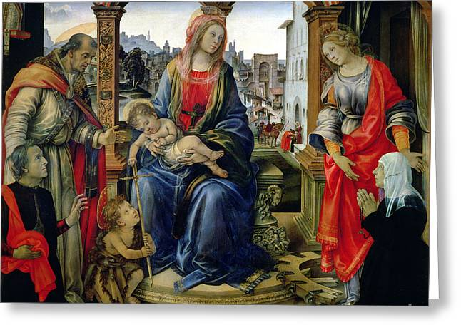 Catherine Wheel Greeting Cards - Madonna and Child Greeting Card by Filippino Lippi