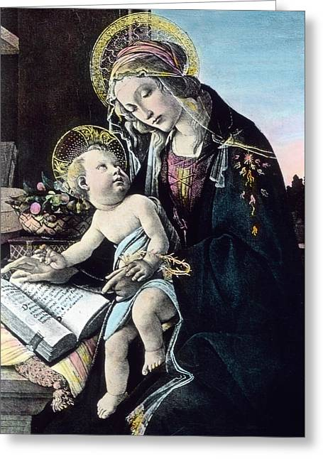 Madonna And Child Greeting Card by German School