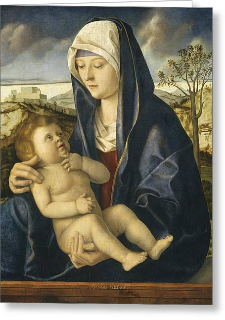 Child In Clouds Greeting Cards - Madonna And Child In A Landscape Greeting Card by Workshop Of Giovanni Bellini
