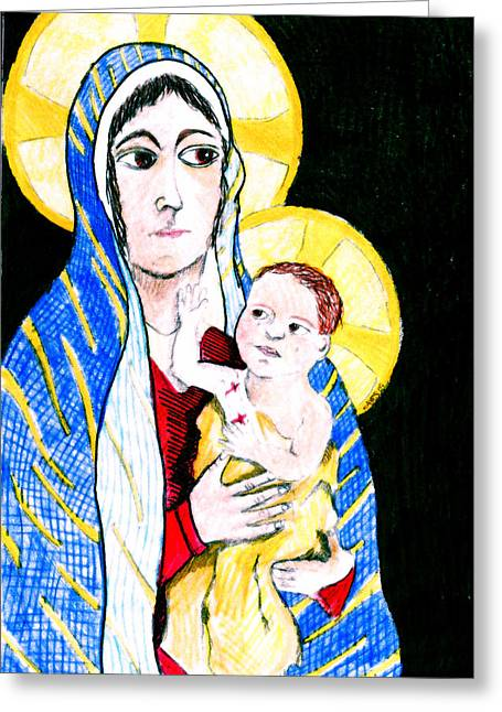 Christ Child Mixed Media Greeting Cards - Madonna and Child Greeting Card by Jame Hayes