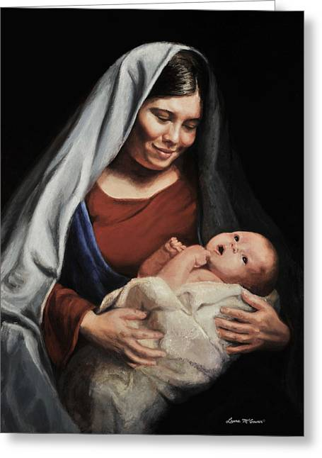 Virgin Mary Greeting Cards - Madonna and Child Greeting Card by Sister Laura McGowan