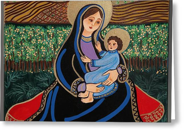 Child Jesus Greeting Cards - The Virgin and Child Greeting Card by Susie Grossman