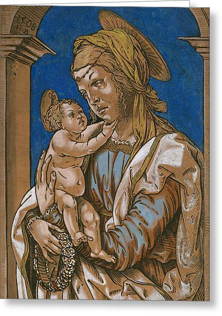 Madonna And Child Greeting Cards - Madonna and Child under an arch Greeting Card by Hans Burgkmair