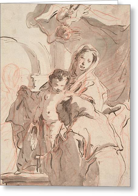 Madonna And Child With Saint Greeting Card by Giovanni Battista Tiepolo