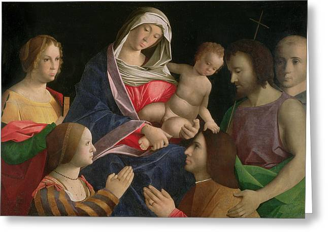 Christ Child Greeting Cards - Madonna and Child with Saint John the Baptist Two Saints and Donors Greeting Card by Vincenzo di Biagio Catena
