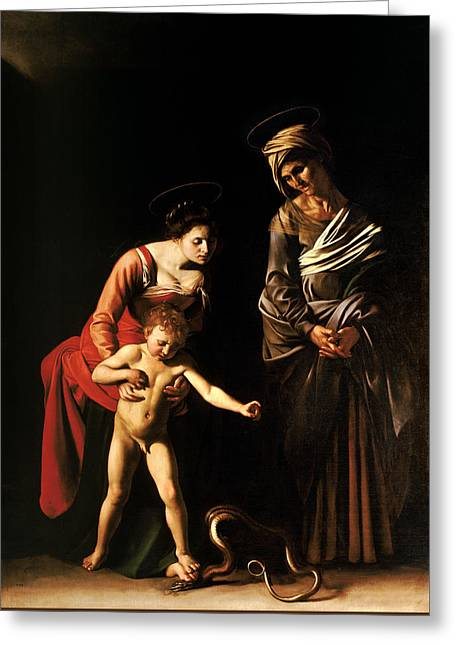 Madonna And Child With St. Anne Greeting Card by Caravaggio