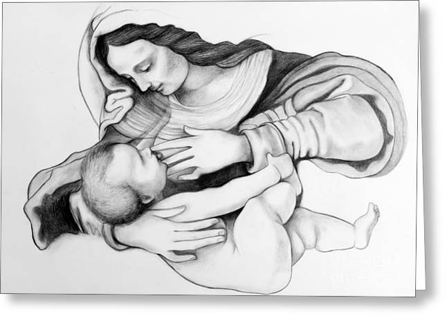 Praying Hands Greeting Cards - Madonna And Christ Greeting Card by Gabriela Junosova