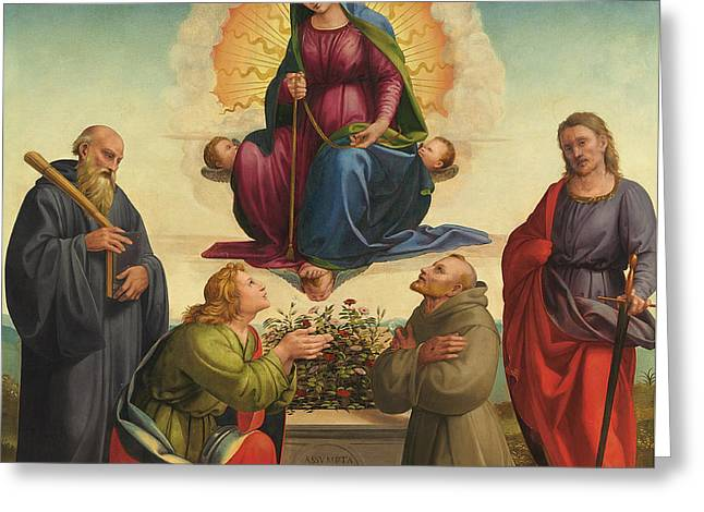 Benedict Greeting Cards - Madonna delle Cintola Greeting Card by Francesco Granacci