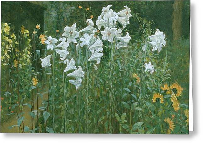 Madonna Lilies in a Garden Greeting Card by Walter Crane