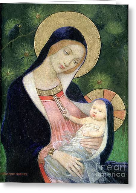 Biblical Greeting Card featuring the painting Madonna Of The Fir Tree by Marianne Stokes
