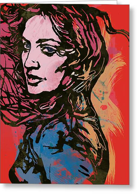 Achieve Greeting Cards - Madonna Pop Stylised Art Sketch Poster Greeting Card by Kim Wang
