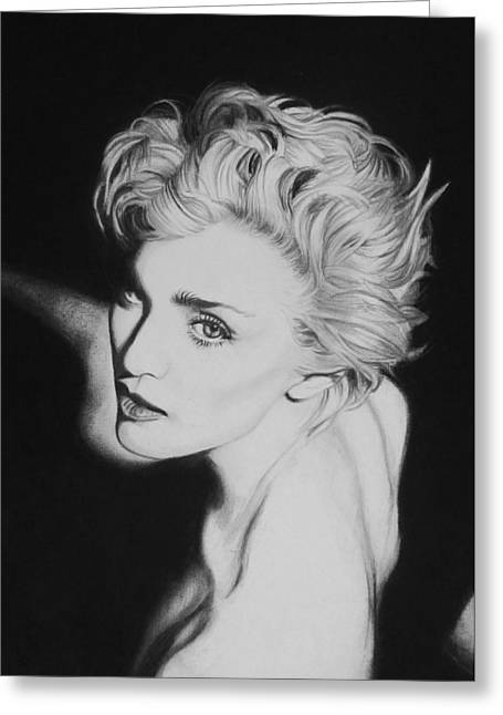 Charcoal Portrait Greeting Cards - Madonna Greeting Card by Steve Hunter