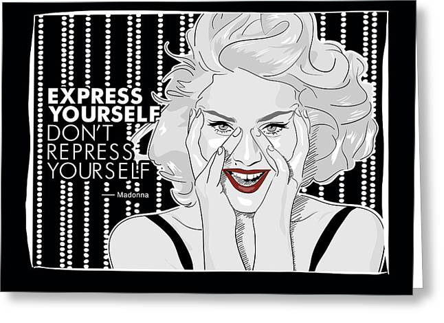 Pop Singer Greeting Cards - Madonna Thought Greeting Card by Wagner Povoa
