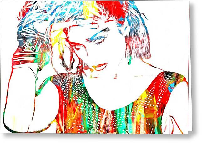 80s Pop Music Greeting Cards - Madonna Watercolor Greeting Card by Dan Sproul