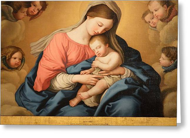 Religious Paintings Greeting Cards - Madonna with Child and Angels Greeting Card by Il Sassoferrato