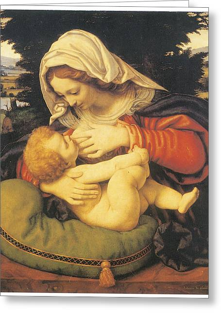 Cushion Paintings Greeting Cards - Madonna with the Green Cushion Greeting Card by Andrea Solari