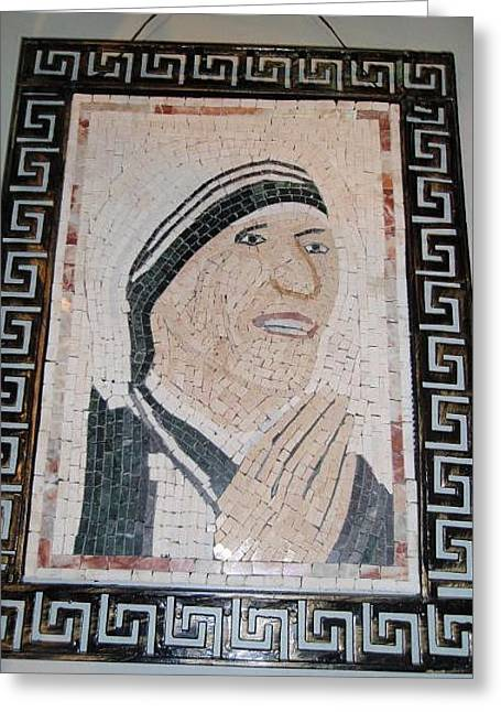 Mosaic Reliefs Greeting Cards - Madre Tereza in stone mosaic Greeting Card by Petrit Metohu