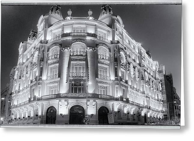 Madrid At Night Greeting Card by Joan Carroll