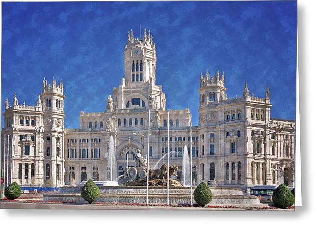 Madrid City Hall Greeting Card by Joan Carroll