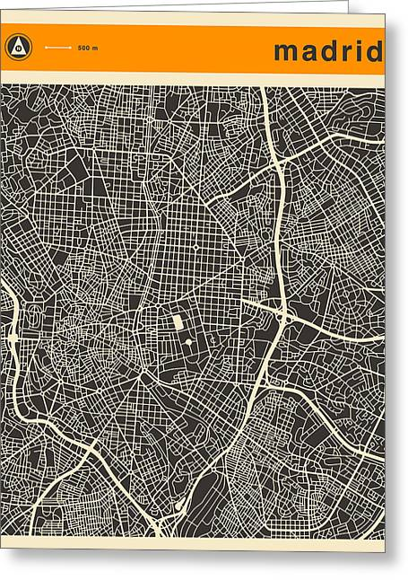Madrid Greeting Cards - Madrid Map Greeting Card by Jazzberry Blue