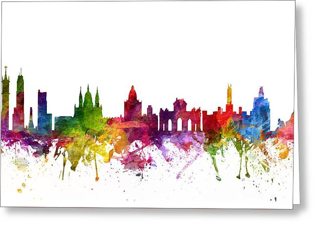 Skylines Drawings Greeting Cards - Madrid Spain Cityscape 06 Greeting Card by Aged Pixel