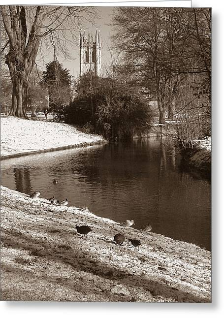 Christmas Greeting Photographs Greeting Cards - Magdalen College Tower  Greeting Card by Mike Lester