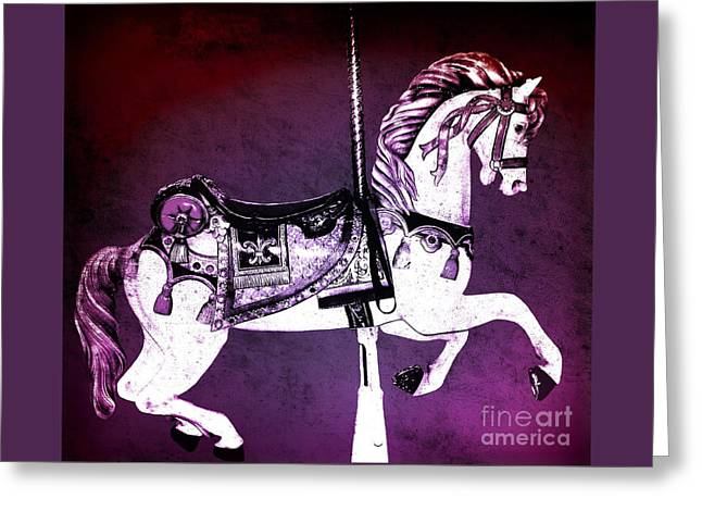 Magenta Carousel Horse Greeting Card by Patty Vicknair
